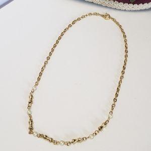 Vintage Gold tone & Faux Pearl Choker Necklace